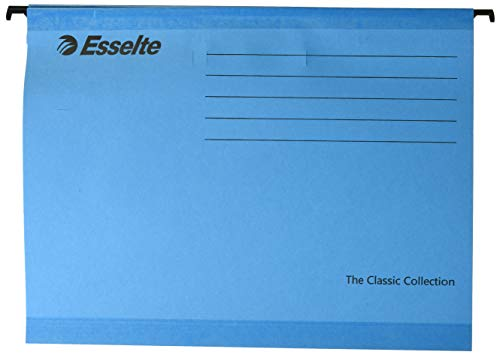 Esselte Classic Reinforced Suspension File, A4, Pack of 25, Tabs Included, Blue, 90311 from Esselte