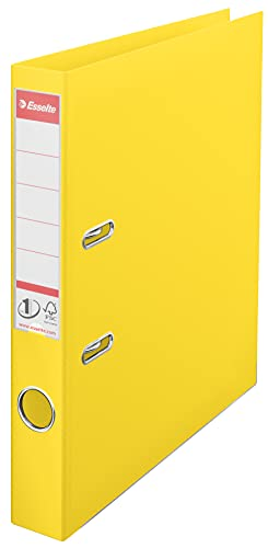 Esselte, Number 1 Power, A4, Lever Arch File, 50 mm Spine, 350 Sheets Capacity, PP, Plastic Cover, File Folder, 811410, Yellow from Esselte