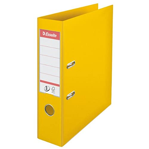 Esselte, Number 1 Power, A4, Lever Arch File, 75 mm Spine, 500 sheets Capacity, PP, Plastic Cover, File Folder, 811310, Yellow from Esselte