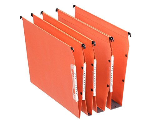 Esselte Dual Lateral Suspension Files, A4, V-Base, Pack of 25 Connectable Files, Tabs Included, Orange, Orgarex Range from Esselte
