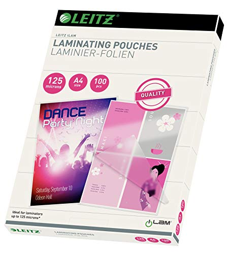 Leitz 33808 Laminating Pouches Made of 125 Micron Thick Material (Transparent, Glossy, A4) - Pack of 100 from Leitz