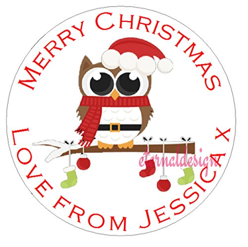 Eternal Design 48 x 30mm Personalised Glossy Christmas White Stickers XDCS 43 from Eternal Design