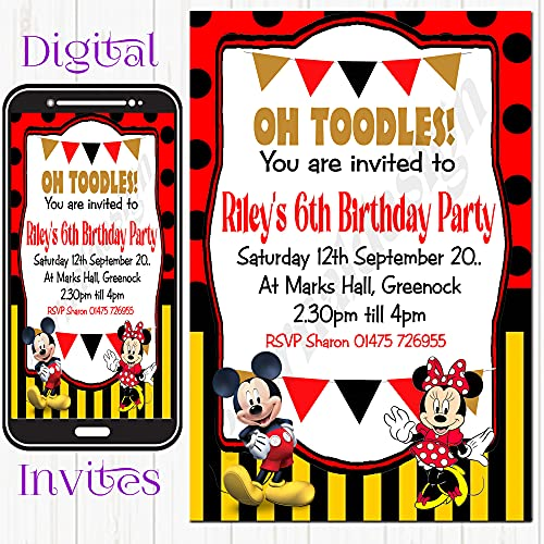 Eternal Design 5 x Personalised Kids Birthday Party Invitations Mickey & Minnie from Eternal Design