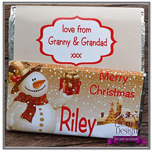 Eternal Design Personalised Christmas Chocolate Bar Gold Snowman from Eternal Design