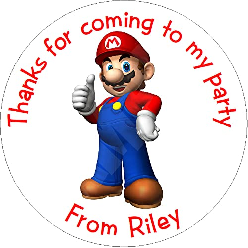 Pack of Super Mario Personalised Circle Stickers with Glossy Finish KBCS024 from Eternal Design