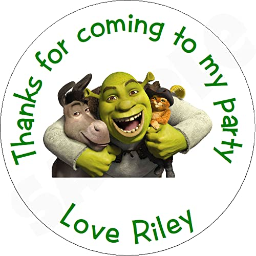 Pack of DreamWorks Shrek Personalised Circle Stickers with Glossy Finish KBCS135 from Eternal Design