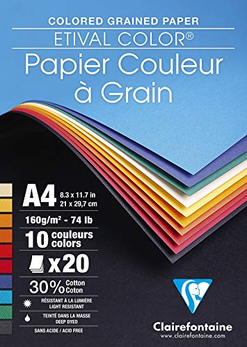 Clairefontaine Etival Coloured Grained Drawing Paper, 160 g, A4 - Assorted Colours, Pack of 20 Sheets from Clairefontaine
