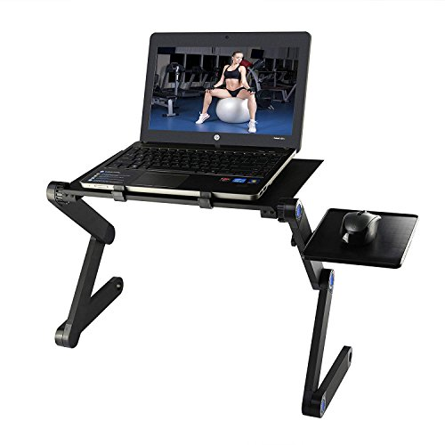 Foldable Laptop Desk, Etpark Portable Laptop Desk Folding PC Desk Bed Sofa Laptop Stand Folding Computer Laptop Table with Mouse Platform & Anti-Slip Bar (Black without Fan) from Etpark