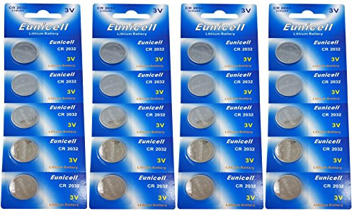 Eunicell 20 x CR2032 3 V Lithium Button Cell 210 mAh Blister Ercards 5 Batteries (4) Brand FBA from Eunicell