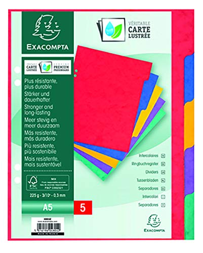 Exacompta Dividers, A5, 225gsm, 5 part - Multi-coloured from Exacompta