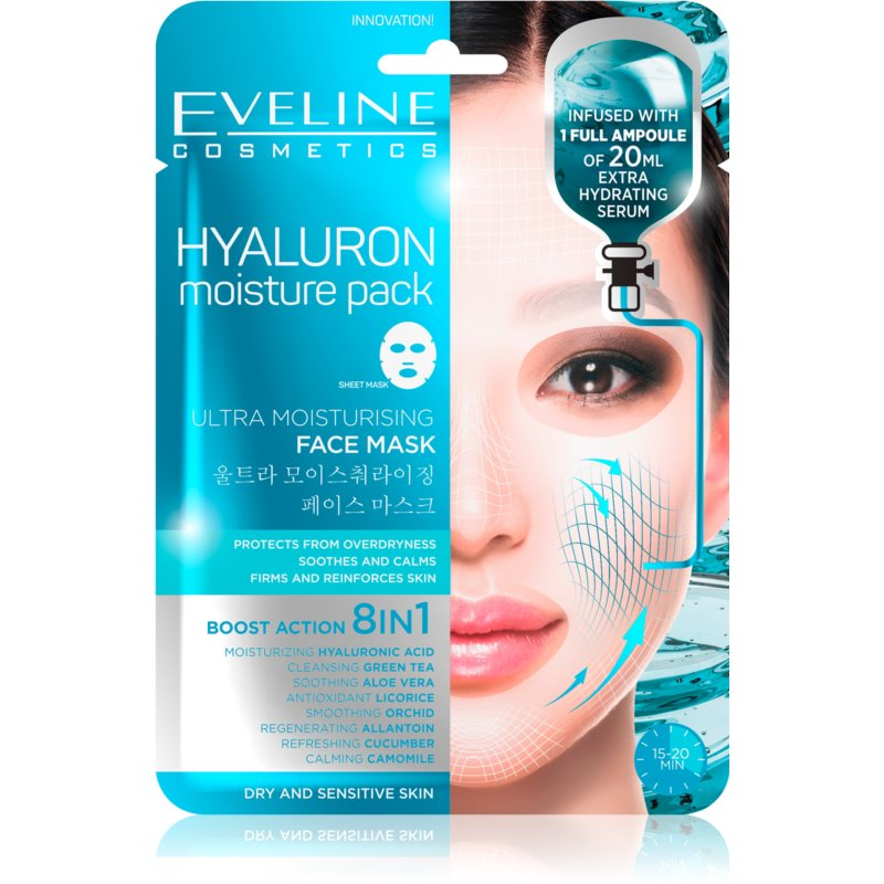 102693516fb257 Eveline Cosmetics Hyaluron Moisture Pack Super Hydrating Soothing Sheet  Mask from Eveline Cosmetics