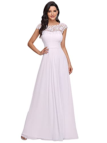 Ever Pretty Womens Cap Sleeve Lace Neckline Ruched Bust Ball Gowns Homecoming Dresses White 14 UK from Ever Pretty