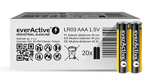 EverActive AAA Batteries 40 Pack Industrial Alkaline Micro LR03 R03 1.5V 5 Year Shelf Life Pack from Everactive