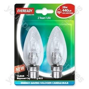 Eveready Bc Can (40w) 28w Clear Bcc Blister Of 2 from Eveready