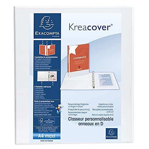 Exacompta Kreacover PP Ring Binder, A4 Maxi, 4 D-Rings, 47 mm spine - White from Exacompta