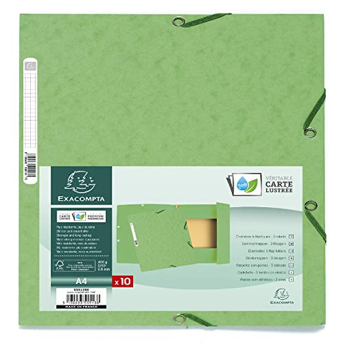 Exacompta - Ref. 55513SE - Pack of 10 elastic folders 3 flaps glossy card 400 gsm A4 - Lime Green from Exacompta