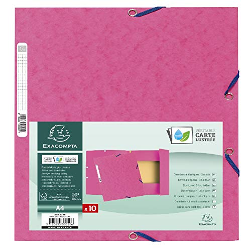Exacompta - Ref. 55520SE - Pack of 10 elastic folders 3 flaps glossy card 400 gsm A4 -Pink from Exacompta