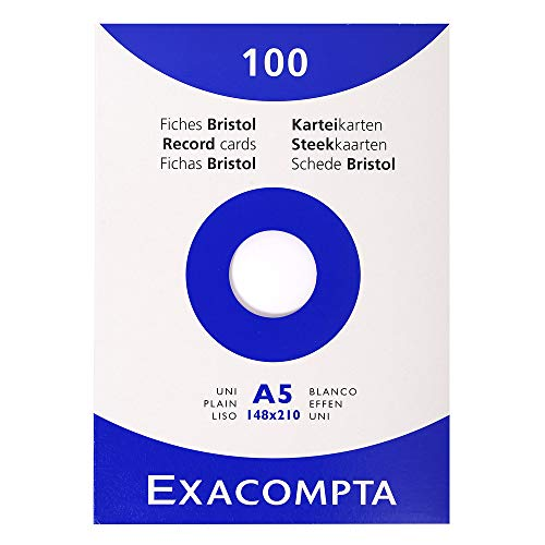 Exacompta Bristol Blank Record Cards, A5 - White, Pack of 100 from Exacompta