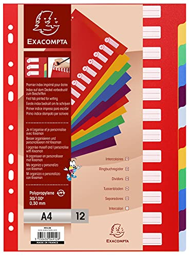 Exacompta PP Dividers, A4, 12 part - Multi-coloured from Exacompta