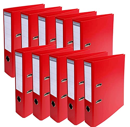 Exacompta 53748e Lever Arch File 70 mm Spine PVC Pack of 10 red from Exacompta