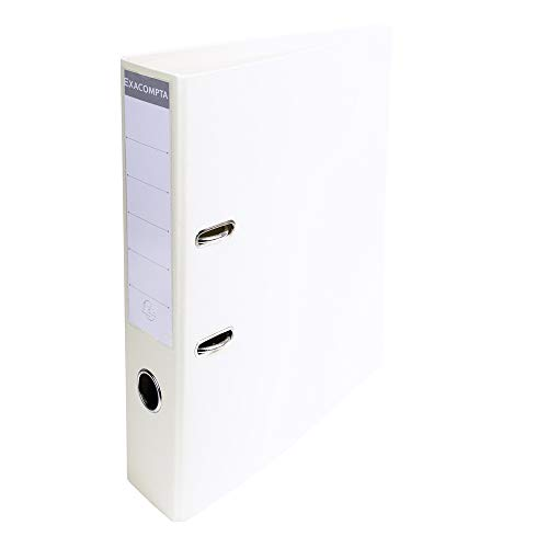 Exacompta Prem'Touch PVC Lever Arch File, 70 mm spine, 2 Ring, A4 - White from Exacompta