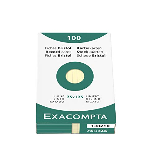 Exacompta Bristol Record Cards, 75 x 125 mm, Lined - Yellow (Pack of 100) from Exacompta