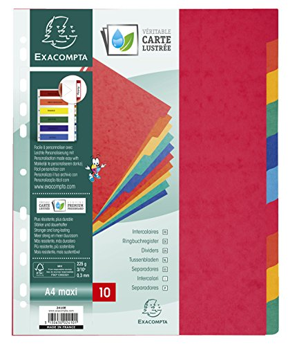 Exacompta Dividers, A4 maxi, 225gsm, 10 part - Multi-coloured from Exacompta