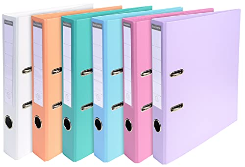 Exacompta Prem'Touch PVC Lever Arch Files, A4, 50mm Spine, 2 Rings - Assorted Pastel colours, Pack of 10 from Exacompta