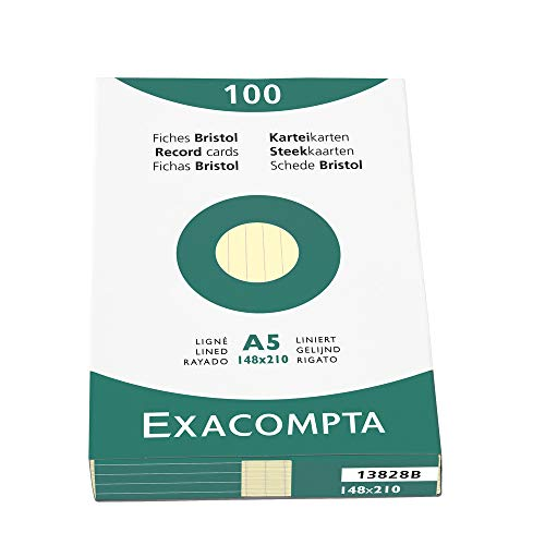 Exacompta Bristol Plain Record Cards - A5 - Yellow, Pack of 100 from Exacompta