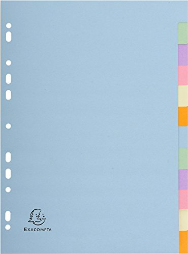Exacompta Forever 1612E A4 12 Part Plain Dividers - Multi-Coloured (1 Pack of 12) from Exacompta