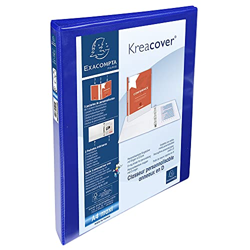 Exacompta Kreacover PP Ring Binder, A4 Maxi, 4 D-Rings, 38 mm spine - Blue from Exacompta