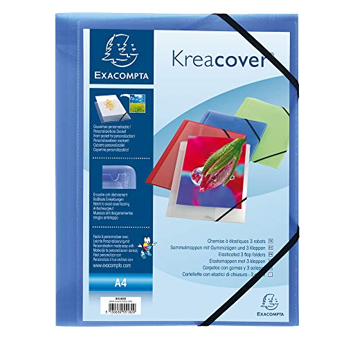 Exacompta 55182E customizable translucent Polypropylene elastic flap folders - Kreacover - A4 - Blue from Exacompta