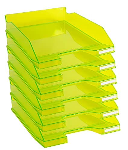 Exacompta Letter Trays A4 + Pack of 6 Lime Green Glossy Transparent from Exacompta