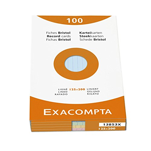Exacompta Bristol Lined Record Cards, 125x200 mm - Assorted Colours, Pack of 100 from Exacompta