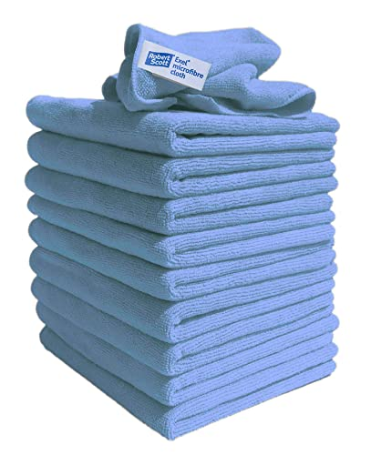 Lint Free Microfibre Exel Super Magic Cleaning Cloths For Polishing, Washing, Waxing And Dusting. Cleaning Accessories, Blue (Pack of 10) from Exel