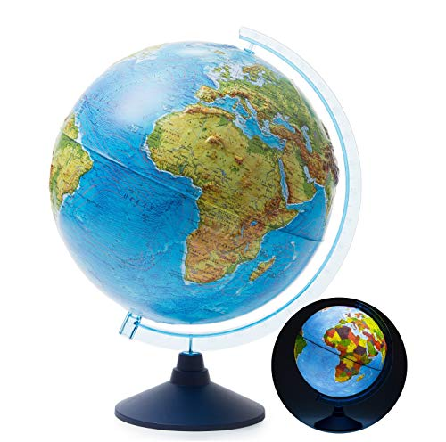 Exerz 32cm Relief Illuminated Globe with Cable Free LED Lighting/ 2 in 1/ Day and Night - Physical/Political Dual Mapping - Unique Embossment Design, Arty, Educational and Fun, For School, Children from Exerz