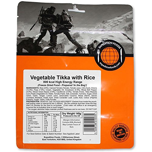 Expedition Foods Vegetable Tikka with Rice (High Energy Serving) from Expedition Foods