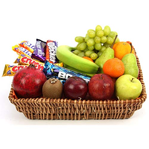 Crunchy Bar Fruit Basket - Fruit Gift Baskets and Gift Hampers with Next Day UK delivery with Personal Message Attached from Express4Fruits