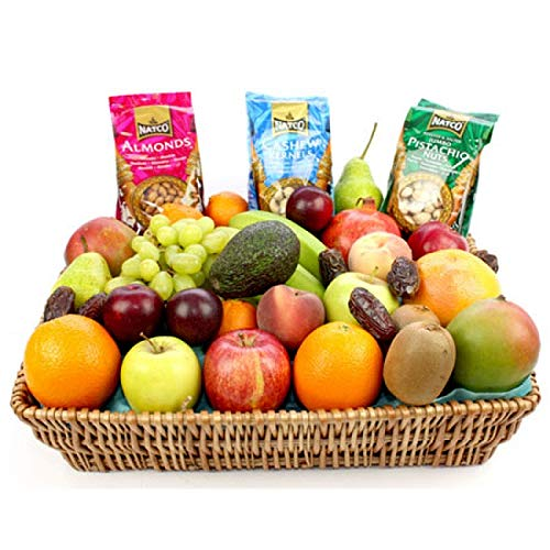 Fruit and Nut Basket - Fruit Gift Baskets and Gift Hampers with Next Day UK delivery with Personal Message Attached from Express4Fruits