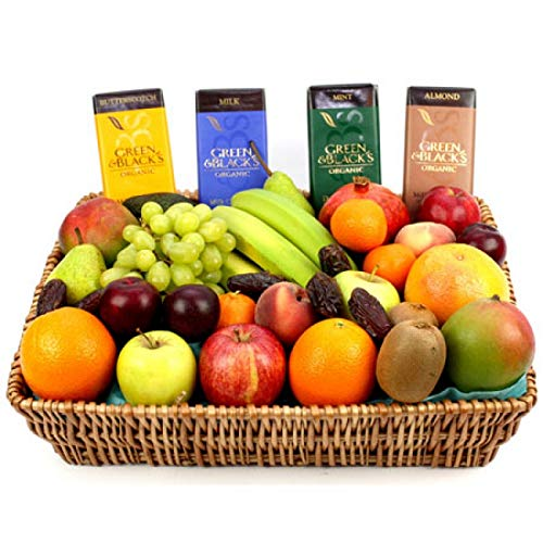 Green and Black Fruit Basket - Fruit Gift Baskets and Gift Hampers with Next Day UK delivery with Personal Message Attached from Express4Fruits