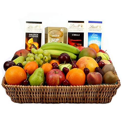 Lindt Excellence Chocolates Fruit Basket - Fruit Gift Baskets and Gift Hampers with Next Day UK delivery with Personal Message Attached from Express4Fruits