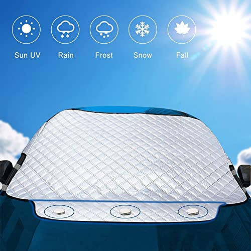 Car Frost Cover - Exqline Universal Car Front Window Snow Cover, Car Windshield Ice Cover, Car Sunshade Blocks UV Rays Sun Visor Protector, Keep Your Vehicle Cool And Damage Free, Easy To Use, Fits Windshields of Various Sizes from Exqline