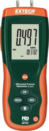 Extech HD755 0.5 PSI Manometer and Pressure Meter from Extech