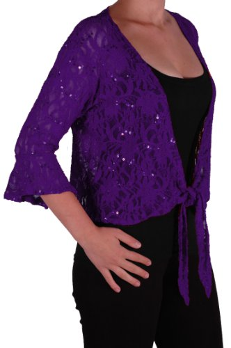 EyeCatch Oversize 12-26 - Darcey Ladies Sequin Cardi Tie Shrug Lace Bolero Top Womens Plus Size Purple 20-22 from Eye Catch