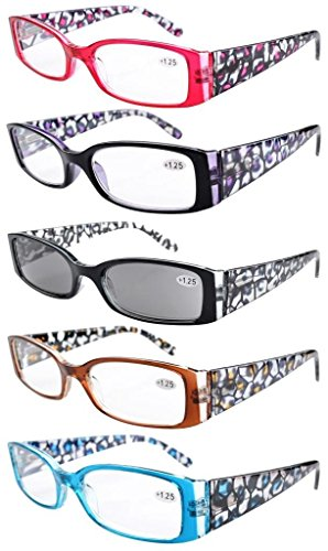 5-Pack Spring Hinge Floral Arms Reading Glasses Includes Sunglass Readers +1.25 from Eyekepper