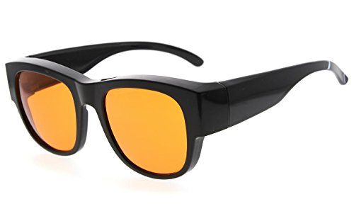 Eyekepper 100% Anti-Blue Light Blocking Computer Glasses,Large Fit Over Reading and Prescription Glasses with Extra Amber Lens Better Sleep, Black from Eyekepper