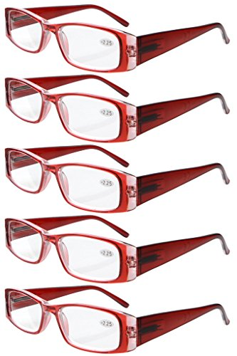 Eyekepper 5-Pack Spring Hinges Rectangular Reading Glasses Readers Red +3.5 from Eyekepper