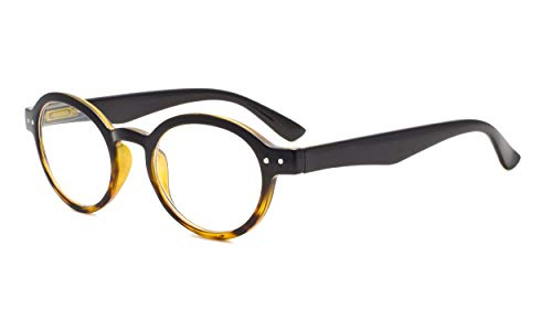 Eyekepper Spring Hinges Round Retro Two Tone Readers Reading Glasses Black Yellow +0.50 from Eyekepper