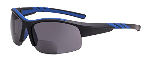 Eyekepper TR90 Unbreakable Sports Bifocal Half Rimless Sunglasses Baseball Running Fishing Driving Golf Softball Hiking Black-Blue Frame +2.5 from Eyekepper