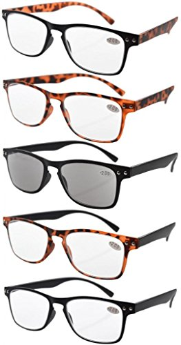 Eyekepper Ultrathin Flex Frame 5-Pack 80's Reading Glasses Include Sunshine Readers +1.0 from Eyekepper